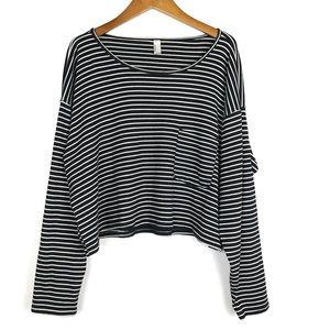 American Apparel Striped Cropped Long Sleeve Shirt